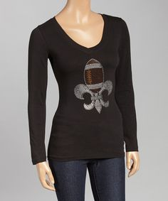 Look at this Black & Brown Football Fleur-de-Lis Tee - Women & Plus on #zulily today!