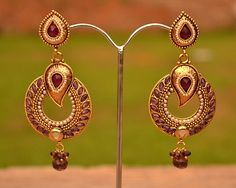 Purple Kundan Earrings Indian Fashion Set Bridal Wedding Day Special Gold Plated