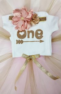 First Birthday Arrows and Hearts Gold and Pink Outfit with matching onesie, tutu, & headband