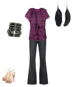 Pretty in Purple by cloudyeyz on Polyvore featuring polyvore fashion style Lanvin Citizens of Humanity Christian Louboutin Wet Seal clothing feather earrings purple black feminine soft bangles pretty work pants pink