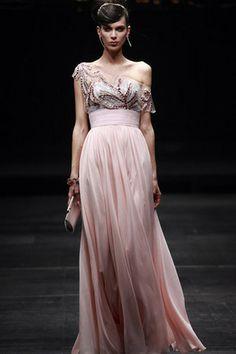 A-Linie Perlen Schärpe Chiffon eine Schulter Seide bodenlanges Abendkleid