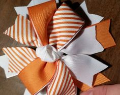 A Large Layered Boutique Hair Bow Clip in by Prettyskyeinbows