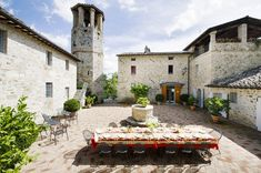 Perugia, Italy - This 11th century medieval castle, one of five belonging to an estate owned by Napoleon's great-granddaughter, is surrounded by a stunning courtyard, pomegranate and lemon trees, manicured gardens of roses and thyme, with breathtaking views of the countryside.