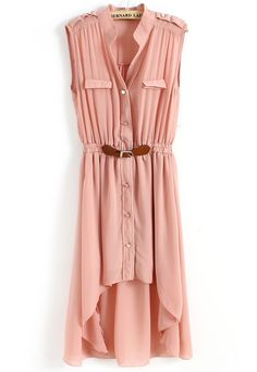 Pink Sleeveless Epaulet High Low Belt Dress