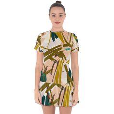 Abstract Brushstrokes Mini Dress Chiffon Fabric, Chiffon Dress, Drop Waist, Brush Strokes, Warm Colors, Fitness Fashion, Wrap Dress, Short Dresses, Abstract