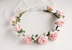 This woodland pink rose crown is ideal bridal hair accessory for brides, bridesmaids or flower girls. Perfect for bohemian, woodland, rustic, outdoor, cottage chic, country barn weddings, flower hair garland for music festivals, garden parties, holidays, maternity photosession, or just