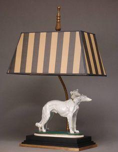 Art Deco Lamp Two Borzoi Hounds And Brass Lamp by MaisonDogLondon