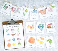 Watercolor flashcards designed to help children identify and learn the months of the year. Cursive, Autumn Activities, Fun Activities, Montessori, Charlotte Mason Curriculum, April Rain, Latin Language, French Language, Flashcards For Kids