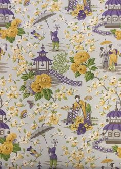This fashionable purple and yellow chinoiserie print is suitable for draperies, pillows, cushions, and more.