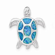 Sterling Silver Blue Turtle Pendant