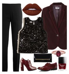 """""""velvet blazer"""" by styleability on Polyvore featuring MANGO, Chloé, Hollister Co., Lime Crime, GUESS, Boohoo and Jimmy Choo"""