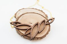 Leaf Pattern Necklace  Wood jewelry by SimplistiCreations on Etsy