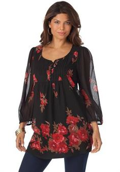 Floral Print A-Line Tunic | Plus Size Bohemian Beauty | Roamans