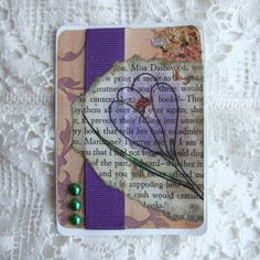 ACEO, Collage with Crocus Illustration on Vintage Book Scrap £2.50
