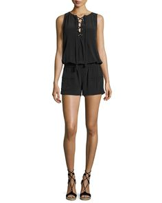 1fa89bc32c3 Joie Caline Sleeveless Lace-Up Silk Romper
