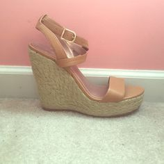 Bcbg wedges Never worn! Go with everything. Beige/tan BCBGeneration Shoes Wedges