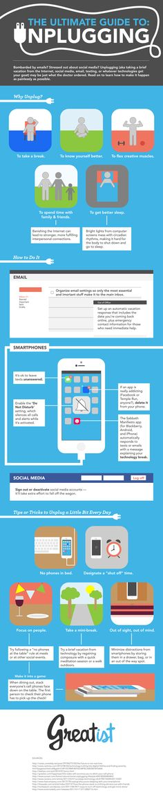The ultimate guide to unplugging.  [infographic]  http://dailyinfographic.com/wp-content/uploads/2013/10/Unplug.png