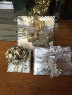 Gift wrap into centerpiece.
