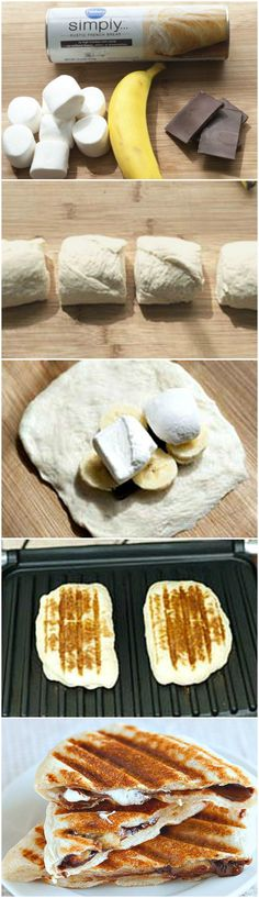 Just make a simple dough and add chocolate pieces, banana slices, and marshmallows. Fold dough over to pocket everything inside using water to help the ends stick together, and press down slightly. Grill on griddle, flattening the panini as it cooks. Enjoy! ~ <3