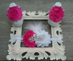 Tiara Crown headband and sandals set with headband, feathers and crown. Choose your color combo by CherylsBowtasticBows