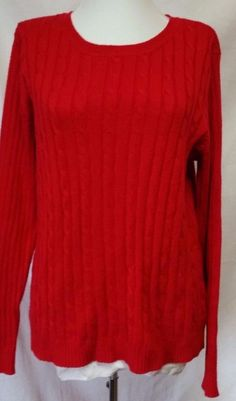 LL BEAN Knit Cardigan Womens L Cotton Zip Front Cable Sweater Deep ...