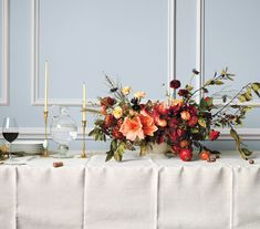 floral Thanksgiving centerpiece with pomegranates // flower arranging