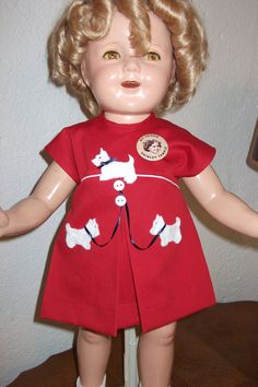 "Shirley Temple little Scottie dress for a 20 inch compo doll from the movie ""Our Little Girl"""