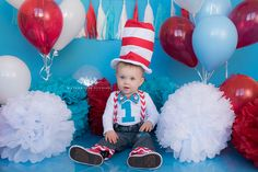 www.waterhousestudios.com, NC photographer, children's photography, children's studio photography, birthday session, cake smash session, Dr. Seus themed, red, blue, and white themed, first birthday photography