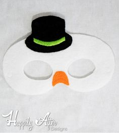 Snowman Tophat Mask ITH Embroidery Design