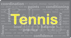 Solowords.com - Tennis Words Canvas. All tennis related words. From technical skills to motivational words. These are great to decorate bedrooms of tennis players or fans. It will also look great in a basement or office. Solowords.com has more sports to choose from and you can choose color and add a name.