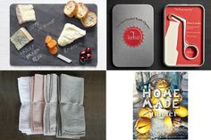 Red Barn Mercantile 10x14 Slate Cheese Board, $35, available at Red Barn Mercantile; Kebo Bottle Opener, $28, available at Restoration Hardware; Home Made Summer by Yvette van Boven, $23.45, available at Barnes & Noble; Alder & Co. Linen Napkin Set, $70, available at Alder & Co.