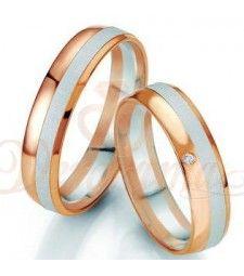 Βέρες γάμου δίχρωμες με διαμάντι Breuning 7069-7070 Or Noir, Bangles, Bracelets, Gold Rings, Wedding Rings, Rose Gold, Engagement Rings, Jewelry, White Gold
