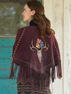 DEER SKULL AND POPPIES SHAWL -  Suede laces and nailheads frame the painted image. A Pendleton exclusive from Patricia Wolf. 100% suede. - $398.00 - #CowgirlChic