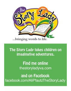 This is where you can go for more information about children's storyteller, Ali Pfautz-The Story Lady. She visits schools, libraries, any place that will let her jump around, tell a tale, and sing some songs, too. She even does custom birthday stories.