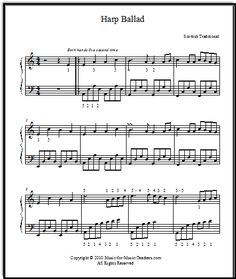 "Printable sheet music for piano ""Harp Ballad,"" a Celtic harp piece.  This will be your students' favorite piece for a long while - and it is full of technique for beginners!"