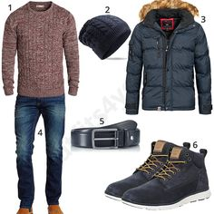 Winteroutfit mit Steppjacke, Pullover und Strickmütze (m0797) #blau #rot #pullover #timberland #outfit #style #fashion #ootd #herrenmode #männermode #outfit #style #fashion #menswear #mensfashion #inspiration #menstyle #inspiration