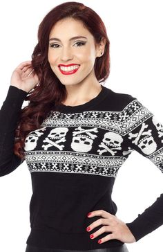 SOURPUSS SKULL N BONES PULLOVER - Sometimes simple is better! We love the simple, yet effective, design of this Skull N Bones Sweater. It's easy to wear and is loaded with style. Made from 100% cotton yarn, it's also warm and toasty - perfection!