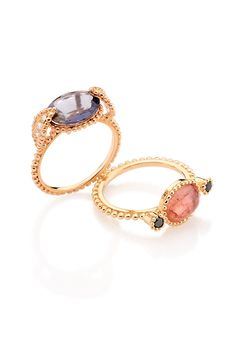 5e8508534bc anéis adelaide iolita e diamantes e topázio imperial e diamantes negros ouro  rosé   Adelaide Rings