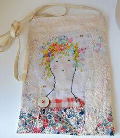 HIP BAG vintage embroidered linen. Digital 100% silk by hensteeth