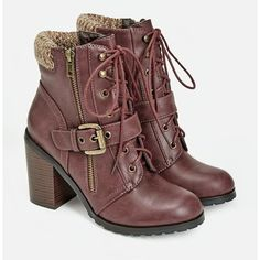 Justfab Booties Orquidia ($43) ❤ liked on Polyvore featuring shoes, boots, ankle booties, red, faux suede lace-up booties, chunky heel ankle boots, lace up high heel booties, platform booties and high heel booties
