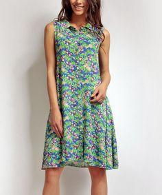 Look what I found on #zulily! Green & Blue Floral Shirt Dress by Karen #zulilyfinds