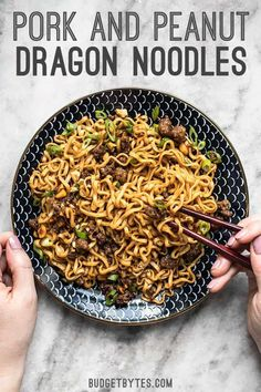 Sweet salty rich and crunchy these Pork and Peanut Dragon Noodles hit all the bases. Its fast easy comfort food for busy nights! Pork Recipes, Asian Recipes, Cooking Recipes, Healthy Recipes, Ethnic Recipes, Oven Recipes, Vegetarian Cooking, Easy Cooking, Easy Recipes