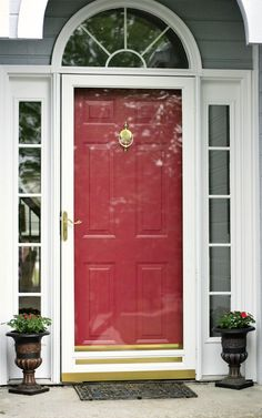 Red door with white storm door. Sidelights and storm door treated as trim and painted white. Glass Screen Door, Front Door With Screen, Glass Front Door, Front Entry, Front Porch, Glass Door, Screen Doors, Front Door Paint Colors, Painted Front Doors