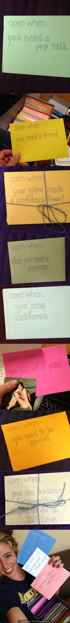 College gifts: Open When...   Sent a box of 65 cards from me and my wife, friends, family, coaches and influential people in my daughter's life. This should be enough for her to open one every other day of the semester as she starts college. We added pictures, gift cards, cash, and fun gifts. - created via http://pinthemall.net