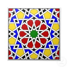 Shop Islamic geometric pattern tile created by moresque. Islamic Motifs, Islamic Tiles, Islamic Art Pattern, Arabic Pattern, Geometric Art, Geometric Designs, Geometric Patterns, Islamic Designs, Tile Patterns