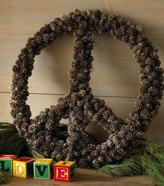 Peace sign pinecone wreath - I must do this!