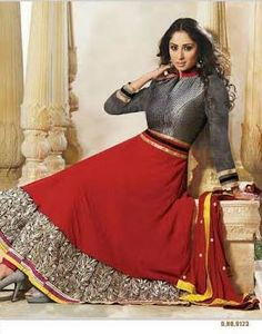 Red and Grey Designer Georgette Anarkali with heavy work of Embroidery en-crafted on the top and the Bottom. Along with Matching Shantoon Bottom and Chiffon Duppatta.