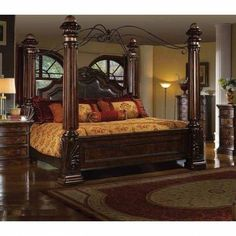 Mcferran B6005 Rich Brown Solid Hardwood California King Size Canopy Bedroom Set 3Pcs (B6005-CK-Set-3) Buy online!