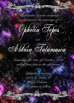 Galaxy Nebula Space Themed Wedding Invitation Save by PandorasArt