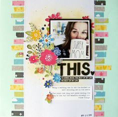 Scrapbook layout using Jillibean Soup's Rainbow Roux collection including patterned paper, coordinating stickers, epoxy stickers and foam stickers. Paper Bag Scrapbook, Scrapbook Journal, Scrapbook Supplies, Scrapbook Cards, Couple Scrapbook, Kiwi Lane Designs, Scrapbook Layout Sketches, Scrapbook Designs, Birthday Scrapbook Layouts